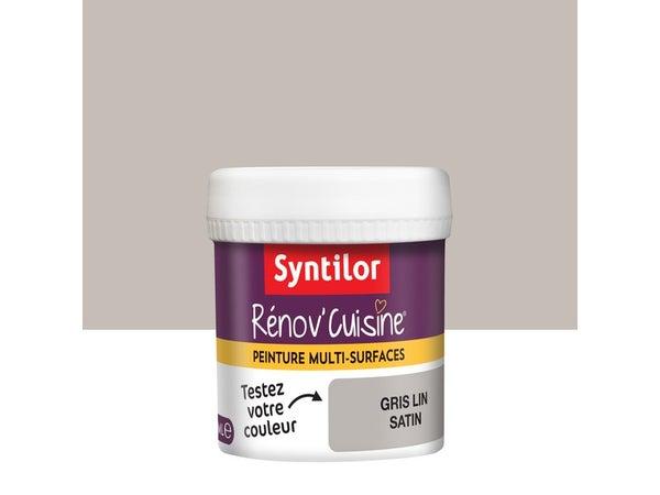 Testeur Peinture Cuisine Meubles, Crédences Syntilor, Gris Lin, 0.075 L, Satin